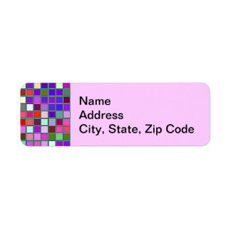 Pink Chunky Multicolored Square Tiles Pattern Return Address Label