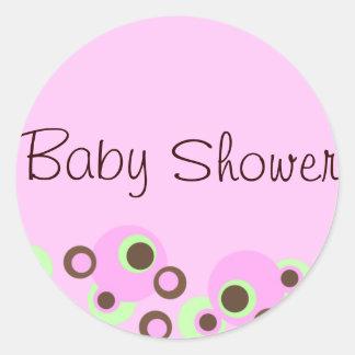 Pink Circle Design Baby Shower Sticker/seal Round Sticker