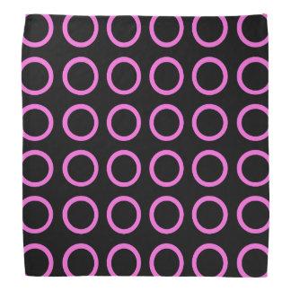 Pink Circles Black Bandana