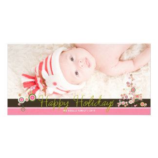 Pink Circles Christmas Tree Holiday Photo Card