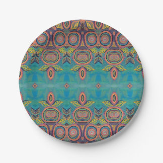 pink circles leaves on teal plate