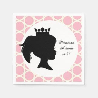 Pink Circles Princess Custom Birthday Paper Napkin