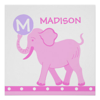 Pink Circus   Baby Girl Nursery Personalize This Poster