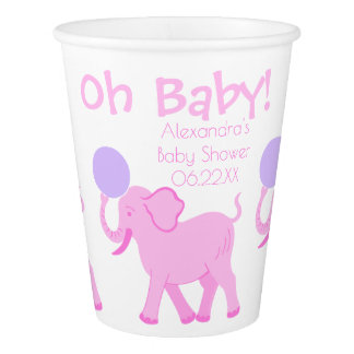 Pink Circus | Baby Shower Cute Girl Personalized Paper Cup
