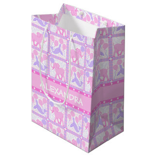 Pink Circus | Baby Shower Girl Colorful Pattern Medium Gift Bag