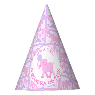 Pink Circus | Baby Shower Girl Elephant Pattern Party Hat