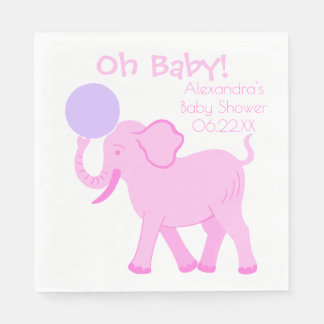Pink Circus | Baby Shower Girly Elephant Oh Baby Disposable Serviette