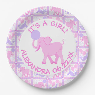 Pink Circus | Baby Shower Its A Girl Add A Name Paper Plate