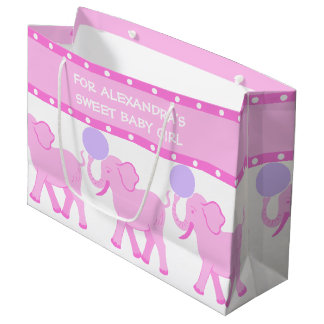 Pink Circus | Baby Shower Sweet Baby Girl Cute Large Gift Bag