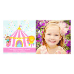 Pink Circus Carnival Personalised Thank You Custom Photo Card