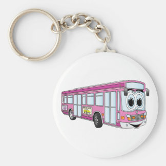 Pink City Bus Cartoon Key Ring