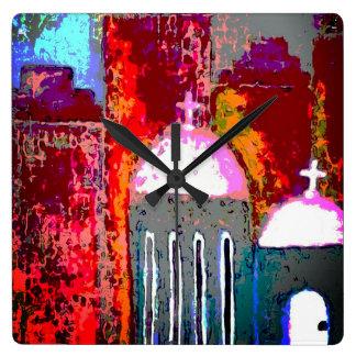 Pink City Church Square Wall Clock