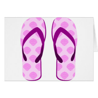 Pink Clam Flip Flops Card
