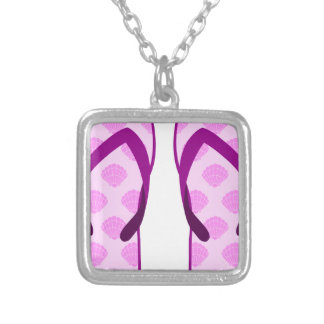 Pink Clam Flip Flops Silver Plated Necklace