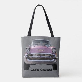 """pink classic car"" TOTE"