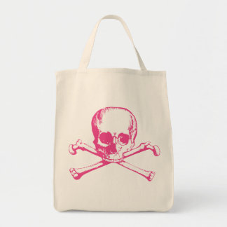 Pink Classic Skull and Crossbones Grocery Tote Bag