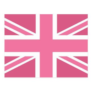 Pink Classic Union Jack British UK Flag Postcard