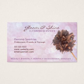 Pink Cleaning Services Business Cards