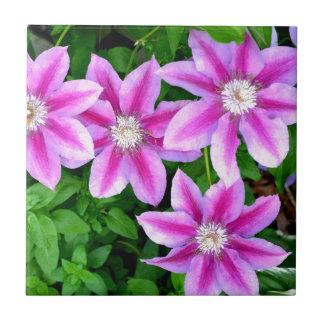 Pink Clematis  and wild Oregano Ceramic Tile