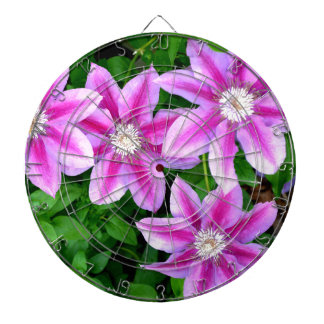 Pink Clematis  and wild Oregano Dartboard With Darts