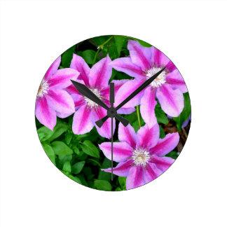 Pink Clematis  and wild Oregano Round Clock