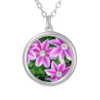 Pink Clematis  and wild Oregano Silver Plated Necklace