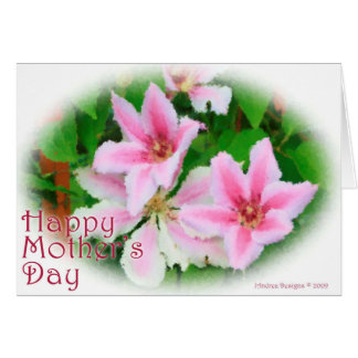 Pink Clematis in Opaque Acrylic Card