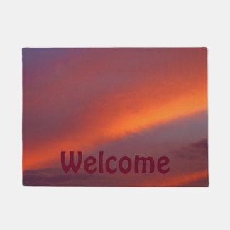 Pink cloud design door mat