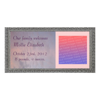 Pink Clouds and Blue Sky Baby Birth Personalized Photo Card