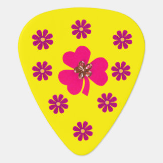 Pink clover and shiny flowers guitar pick