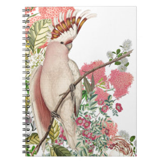 Pink cockatoo, on mantle of flowers notebooks