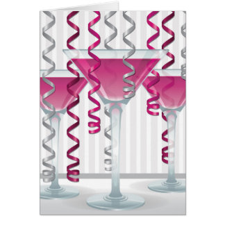 Pink cocktail and ribbon card