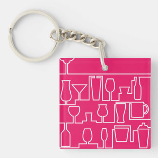 Pink cocktail party Double-Sided square acrylic key ring