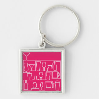 Pink cocktail party key ring