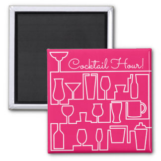 Pink cocktail party square magnet