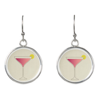 Pink cocktail with a slice of lemon earrings