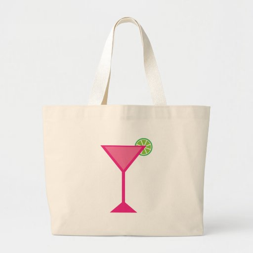 Pink Cocktail With Lime Tote Bags