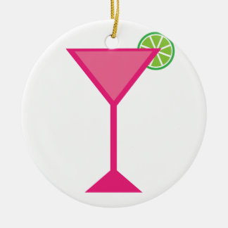 Pink Cocktail With Lime Ceramic Ornament