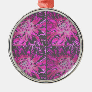 Pink Collage Dahlia Flower Pattern Christmas Tree Ornaments