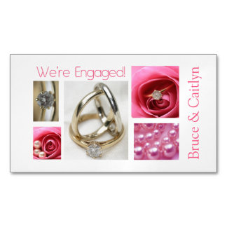 Pink collage engagement announcement magnetic business cards