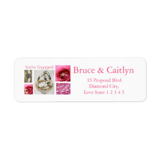 Pink collage engagement announcement return address label