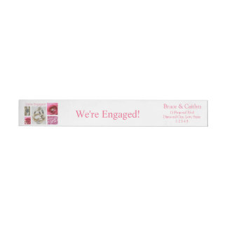 Pink collage engagement announcement wraparound return address label