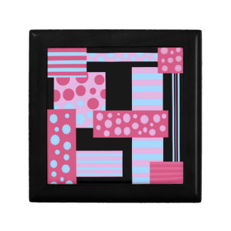 Pink collage small square gift box