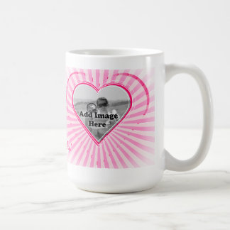 Pink color Heart pattern Photo template Basic White Mug