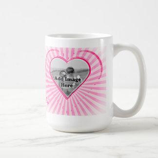 Pink color Heart pattern Photo template Basic White Mug