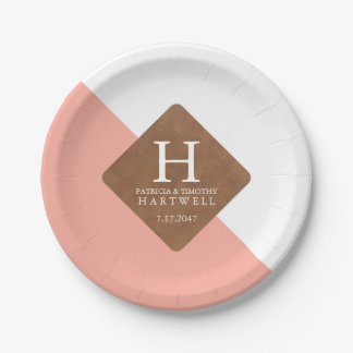 Pink Color Split Faux Leather Patch Wedding 7 Inch Paper Plate