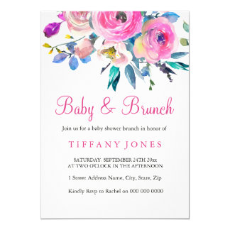 Pink Colorful Floral Baby & Brunch Invite