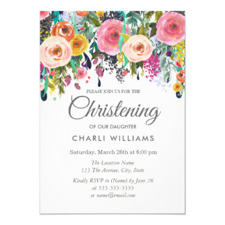 Pink Colorful Flowers Christening baptism invite
