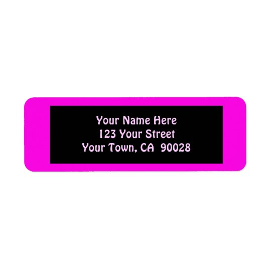 pink colour return address label