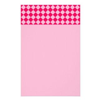 Pink Combination Diamond Pattern Stationery